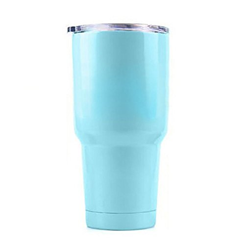 Aspire 30 Oz. Double Walled Insulated Travel Cup with Resistant Lid, Stainless Steel Tumbler, Keep Cold or Hot for Hours-Light Blue