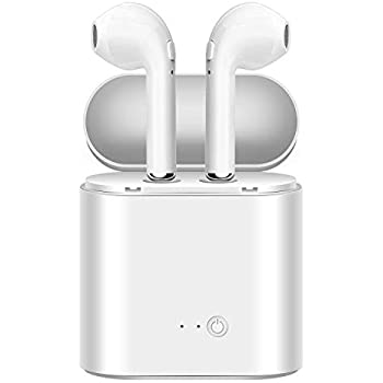 ... Headphones Upgraded Version Mini Size HD Stereo in-Ear Noise Canceling Earphones with Mic Charger Case Compatible with iPhone iOS Android (White)
