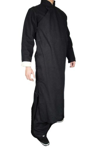 378ad07cbb 100% Cotton Black Kung Fu Martial Art Tai Chi Long Coat Robe XS ...