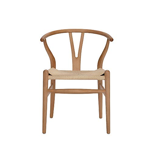 Tomile Wishbone Solid Dining Chairs Rattan Armchair Hans Wegner Beech-Natural Wood Color ,