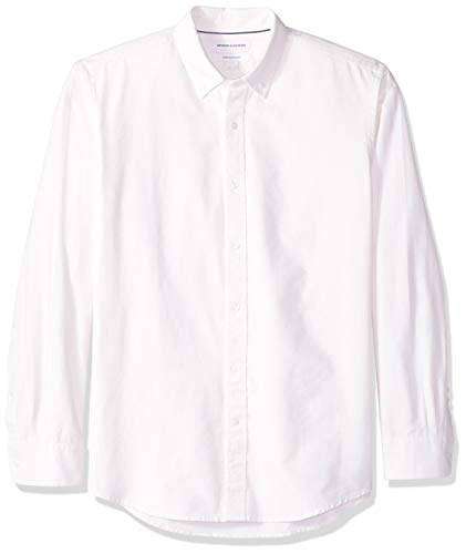Amazon Essentials Mens Regular-Fit Long-Sleeve Stripe Oxford Shirt