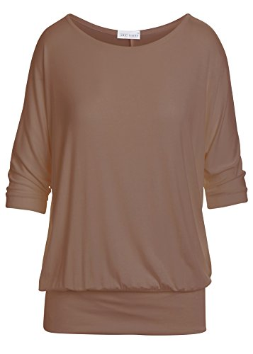 Amie Finery Oversized Dolman Tops For Women Bottom Banded Half Sleeve Made In USA Medium Mocha Brown - Drop Waist Peasant Top