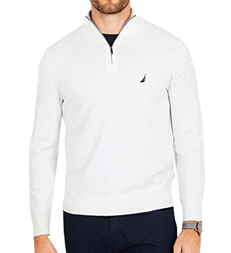Nautica Men's Big and Tall Half-Zip Mock Neck Sweater, Marshmallow 3X-Large