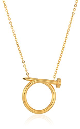 ELYA Jewelry Womens Gold Plated Polished Nail Stainless Steel Pendant Necklace, Gold, One Size -
