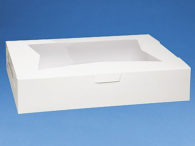 Pack of 10 WHITE 19x14x4 Window Bakery or Cake Box by Southern Champion