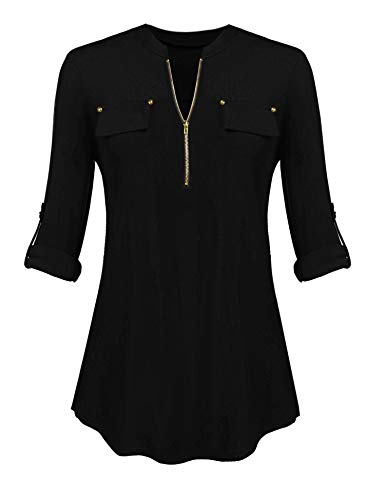 AMAURAS Women Notch-V Neck Long Roll-up Sleeve Zip up Casual Tunic Shirt Blouse -