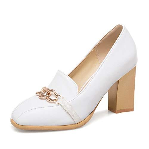 Pu Blanc Ai 50 White liangxie Plus Printemps Femmes Chaussures D'épaisseur High Heels Ya 32 Metal Femme Carré Bout Decoration fwfZzA