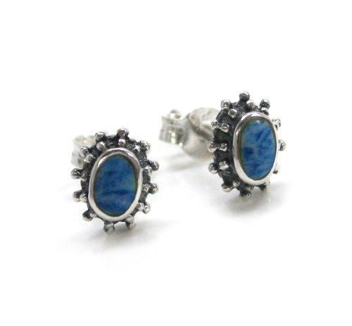 "Sterling Silver Stone Inlay""Josie"" Oval Stud Post Earrings, Denim Lapis"