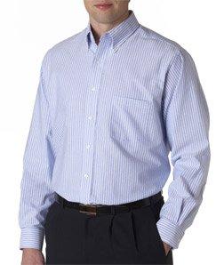 Van Heusen 57800 Mens Classic Long-Sleeve Oxford - Blue & White Stripe, 2XL