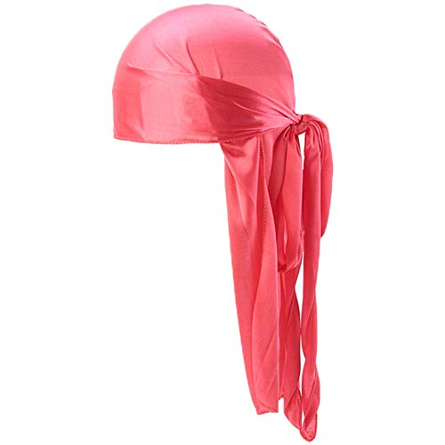Silk Durags for Men Waves,Long Tail Cool Doorags Scarf Chemo Wave Caps Orange Red