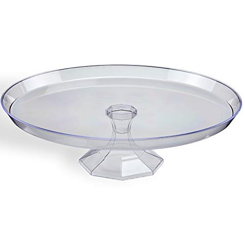 Plastic Cake Stands | 3 Pack - 10 Inches | Disposable Cupcake Stands | Clear Dessert Stands | Cake Holder | Cake Platter | Pedestal Cake Display Stands for Wedding Cakes | Serving Platters for Parties -