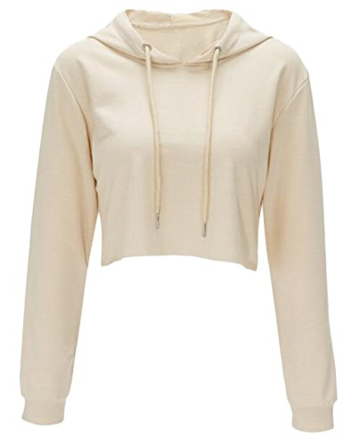 (Women Long Sleeve Pullover Hooded Sweatshirt Casual Loose Crop Top Shirt size M (Apricot))