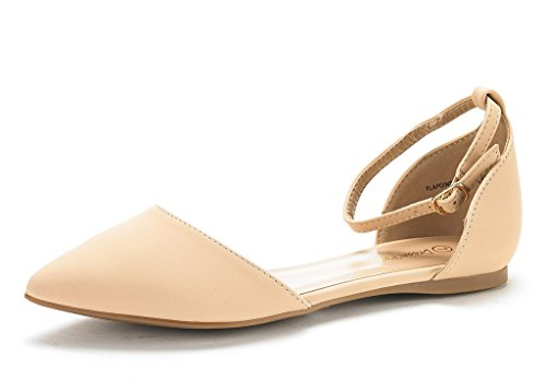 DREAM PAIRS Women's FLAPOINTED-New Nude Nubuck D'Orsay Ballet Flats Shoes - 10 M US
