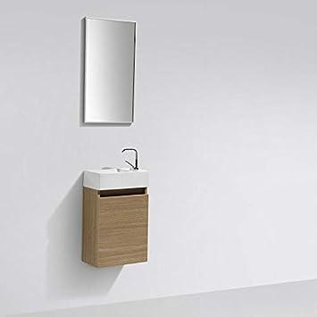 Mueble lavamanos + lavabo 40cm MONTADO tinte Roble Claro ...