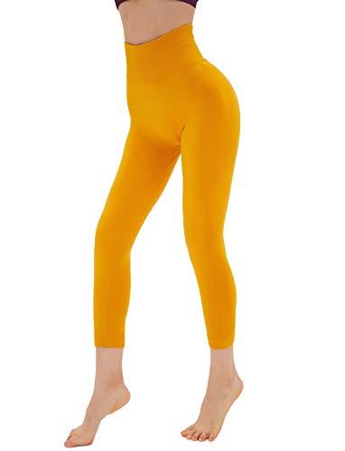 Dutte Dutta High Waist Yoga Pants Bright Yellow Girls Running Leggings, Size XS]()