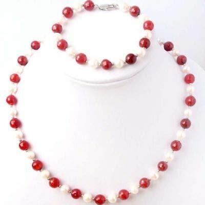 FidgetKute 7-8mm White Freshwater Pearl &red Jade Necklace Bracelet Jewel Set
