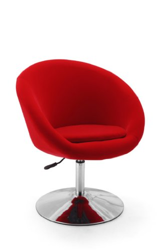 International Design USA Barrel Adjustable Swivel Leisure Chair, Red Swivel Leisure Chair