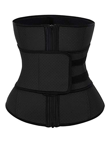 KINJOHI Women's Waist Trainer Corset Plus Size Steel Boned Latex for Weight Loss Body Shaper Black L ()