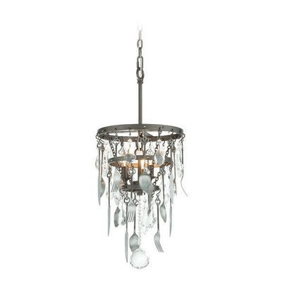 Troy Lighting Bistro 13W 3-Light Pendant - Graphite Finish with Antique Pewter Flatware and Crystal Drops by (13 Watt Drop Light)