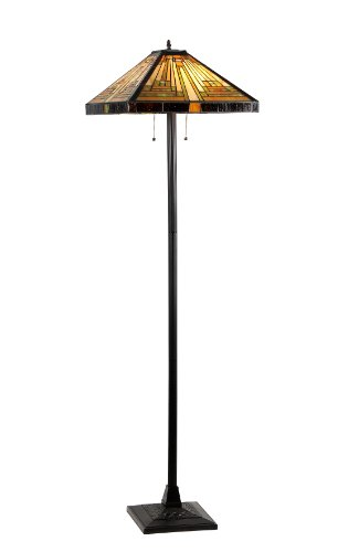 Lamp Floor Metal Square (Chloe Lighting CH33359MR18-FL2 Innes Tiffany-Style Mission 2-Light Floor Lamp with 18-Inch Shade)
