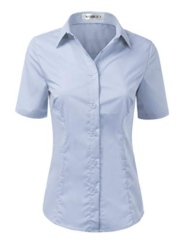 Doublju Womens Basic Slim Fit Simple Short Sleeve Button Down Shirt with Plus Size
