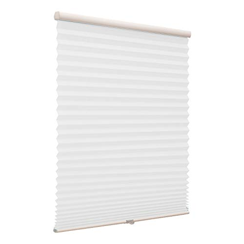 Cordless Single Cell Window Shades, Custom Made Any Size from 20-78inch Wide Light Filtering UV Protection White Window Blinds, 58