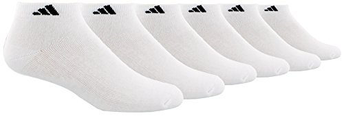 adidas Mens Athletic Cushioned Low Cut Socks (6-Pack), White, XL(Shoe Size 12-15)
