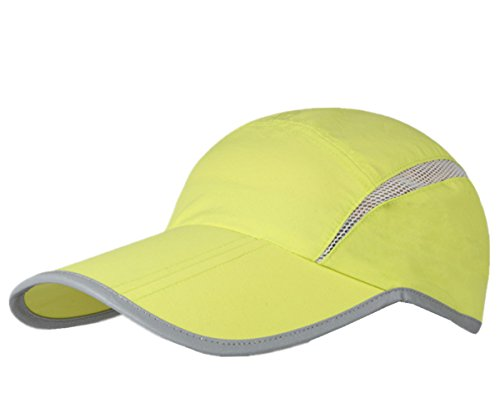 Connectyle Foldable Mesh Sun Cap Outdoor Sports Hat Breathable Sun Runner Cap with Reflective Trim Light Green