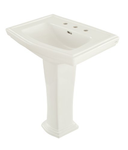 Clayton Lavatory (TOTO LPT780.8#01 Clayton Lavatory and Pedestal with 8-Inch Centers, Cotton White)