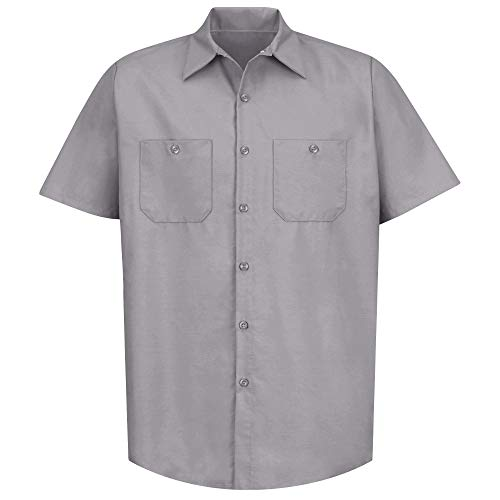 Red Kap Short Sleeve Industrial Solid Work Shirt Silver Grey Medium 2 - Short Sleeve Shirt Utility