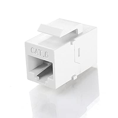 TNP RJ45 Keystone - Cat6 Cat5e Cat5 Compatible 8P8C Ethernet Network Jack Insert Snap In Adapter Connector Port Inline Coupler For Wall Plate Outlet Panel (White)