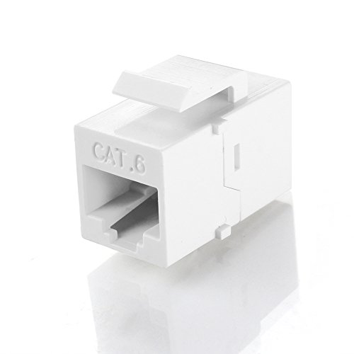 (TNP RJ45 Keystone - Cat6 Cat5e Cat5 Compatible 8P8C Ethernet Network Jack Insert Snap in Adapter Connector Port Inline Coupler for Wall Plate Outlet Panel (White))