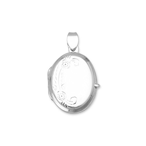 - Bunnyberry Small Polished Floral Design Oval Picture Locket