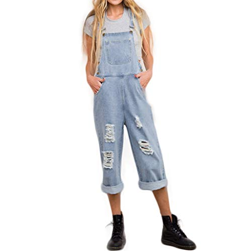 (Women Overalls Jeans Loose Ripped Hole Button High Pants Autumn Casual Jumpsuit (Light Blue,)