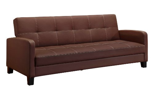 DHP Delaney Sofa Sleeper in Rich Faux Leather, Multifunctional, (Leather Sleeper Sofa Sleepers)