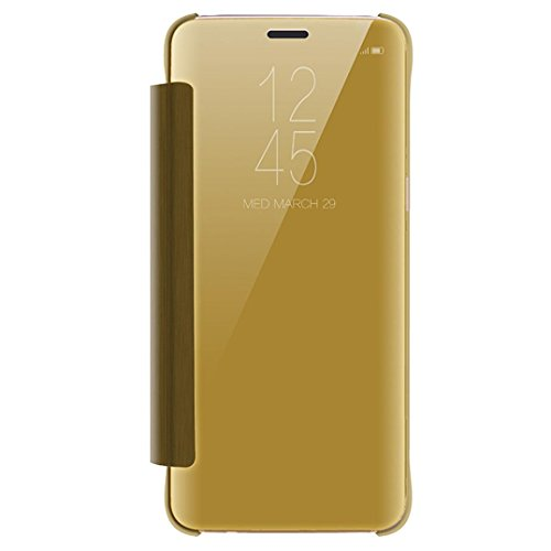 For Samsung Galaxy S9 5.8inch/S9 Plus 6.2inch, Tuscom PU Leather Case Cover Skin,Luxury Smart Sleep Wake UP Mirror Flip Case (Gold, S9 Plus 6.2inch)
