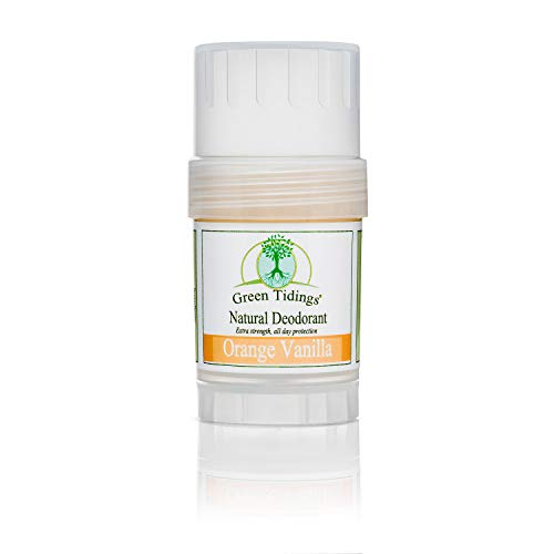 Green Tidings Natural Deodorant - Orange Vanilla 1 oz. - Extra Strength, All Day Protection - Vegan - Cruelty-Free - Aluminum Free - Paraben Free - Non-Toxic - Solid Lotion Bar Tube