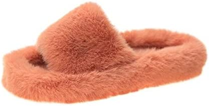 NC56 Winter Women House Furry Slippers Fashion Faux Fur Warm Shoes Women Slip on Flats Female Home Slides Black Plush Indoor Outdoor