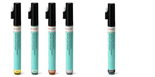 ImpressArt 5 Enamel Marker Pens, 5 Colors Including Gold, Silver, Black, Green and Brown.  Markers Designed for Use On Metal, Perfect for Metal Stamping Projects