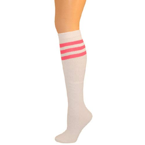 AJs Classic Triple Stripes Retro Knee High Tube Socks - White, Hot Pink, Sock size 11-13, Shoe Size 5 and -