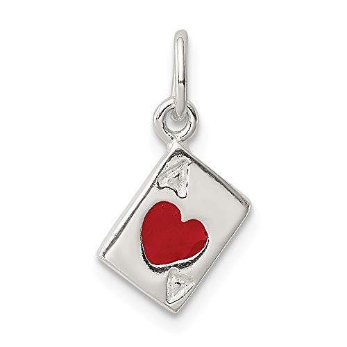 925 Sterling Silver Enameled Ace Of Hearts Card Pendant Charm Necklace Gambling Fine Jewelry Gifts For Women For Her