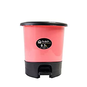 Ouud plastic round step trash can with lid 8 5l 2 2 gal pink home kitchen - Pink kitchen trash can ...