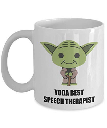 Yoda Best Speech Therapist Mug - Birthday Christmas Party Novelty Gifts For Employee Staff Coworker Husband Wife Men Star Wars Fans 11 oz Coffee Cup