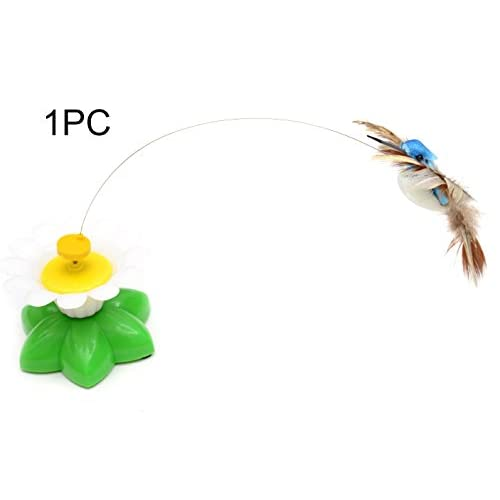hot sale Electric Plastic Birdie Flying around Flowers Funny Cat Toys Electric Tease Cat Toy Interactive (Randomly Color)