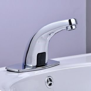 SADASD Modern Copper Bathroom Basin Faucet Infrared Intelligent Induction Wash Basin Sink Taps Single Hole Single Handle Ceramic Valve Hot And Cold Water Mixer Tap With G1 2 Hose