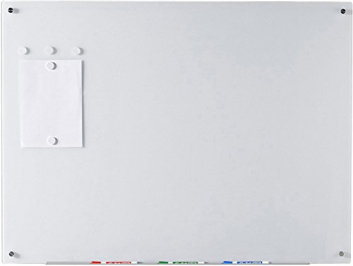 Ultra White Magnetic Glass Dry-Erase Board - 35 1/2'' x 47 1/4'' - Includes Board, 5 Magnets, and Aluminum Marker Tray by Audio-Visual Direct