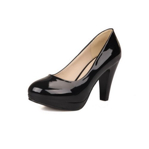 AmoonyFashion Girls Closed Round Toe High Heel Platform Patent Leather PU Solid Pumps, Black, - Mall Shopping In Hollywood