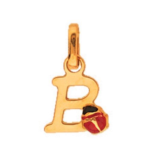 So Chic Bijoux © Pendentif Initiale Lettre B Coccinelle Laque Rouge Noir Or Jaune 750/000 (18 carats)