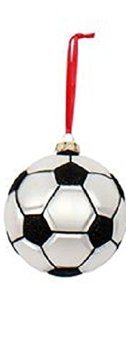 Sports Ball Shaped Glass Ornament (Soccer) by DEI