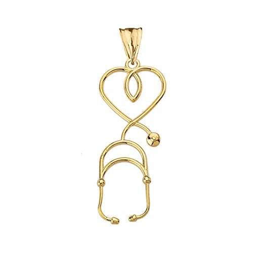 - Fine 14k Yellow Gold Heart-Shaped Stethoscope Pendant